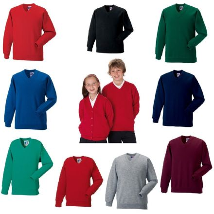 Unisex Boys Girls School Uniform Russell Jerzees V-neck set-in Sweatshirt Jumper